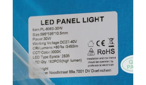Led panel light 595x595x10,5mm
