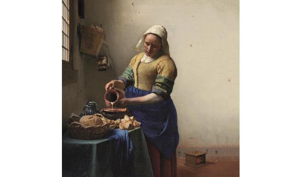 Het Melkmeisje van Johannes Vermeer op acrylglas, 73cm