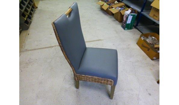 Eetkamer stoelen, grijs, leer 4x