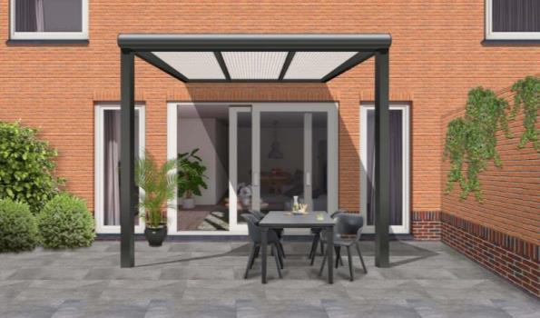 Terrasoverkapping, Aluminium antraciet met polycarbonaat dak, helder, klassiek