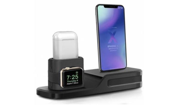3 in 1 Oplaadstation - Zwart (voor Apple Watch, Airpods & Iphone)