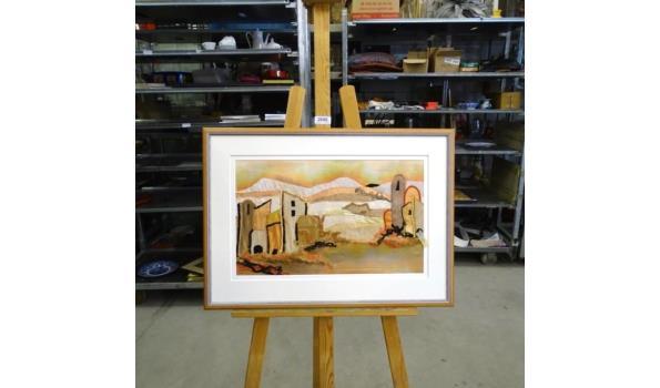 Kunstwerk gemaakt van stof in passe-partout en in houten lijst