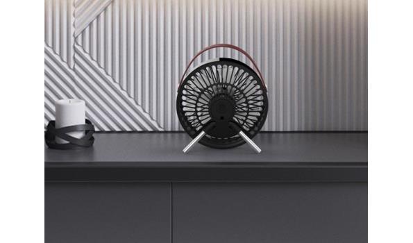 Tafelventilator Design, zwart/leder, 5x
