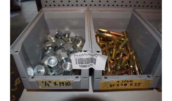 Partij bevestigingsmaterialen in magazijnbak o.a. moeren M10, T-stuk 25x20x25 & montageplaten