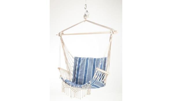 Hangstoel Blauw/wit
