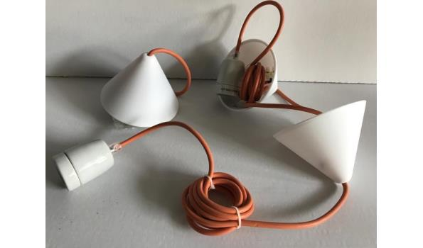 Hanglamp Corda met oranje snoer, 5 stuks