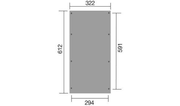 Carport/Overkapping vrijstaand, 3,22x6,12 meter, voor 1 voertuig, geimpregneerd
