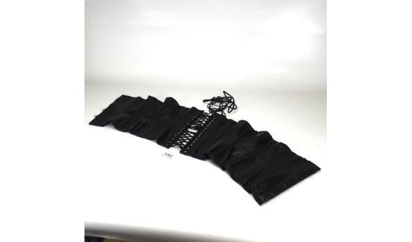 Handgemaakt zwart zachtlederen korset