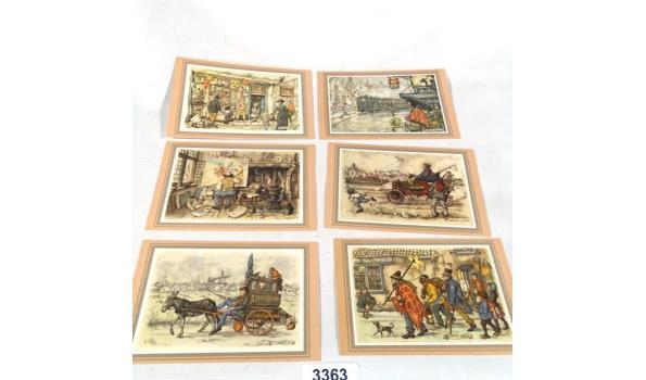 Set van 6 Anton Pieck briefkaarten