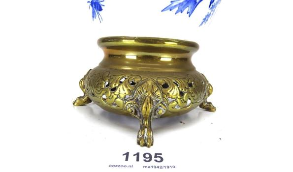 Flora B.F.K. antieke lampvoet brons met porselein