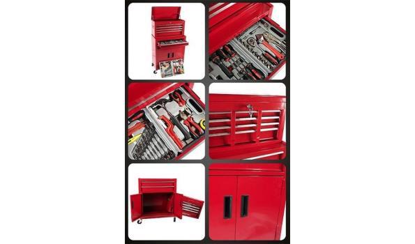 Gereedschapswagen met opzetkast, rood, 193 delig, 4x