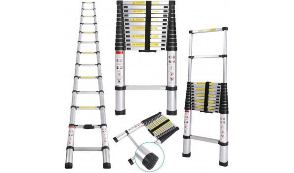 Telescopische Aluminium ladder 11 treden, 2x